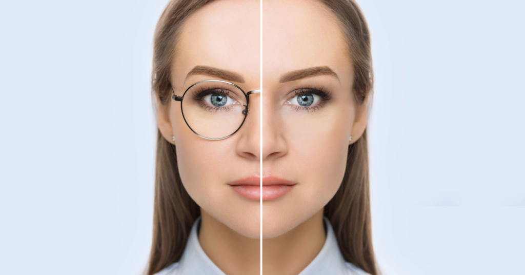 woman thinking about lasik comparing her face before and after glasses